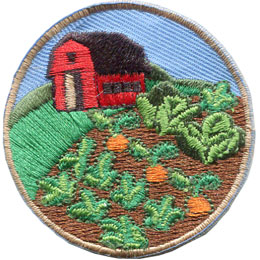 Farm, Barn, Garden, Vegetable, Food, Sun, Patch, Embroidered Patch, Merit Badge, Badge, Emblem, Iron On, Iron-On, Crest, Lapel Pin, Insignia, Girl Scouts, Boy Scouts, Girl Guides