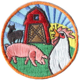 Farm, Barn, Pig, Cow, Chicken, Country, Sun, Patch, Embroidered Patch, Merit Badge, Badge, Emblem, Iron On, Iron-On, Crest, Lapel Pin, Insignia, Girl Scouts, Boy Scouts, Girl Guides