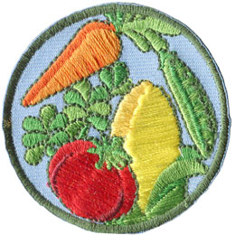 Garden, Vegetable, Carrot, Tomato, Pea, Corn, Herb, Patch, Embroidered Patch, Merit Badge, Badge, Emblem, Iron On, Iron-On, Crest, Lapel Pin, Insignia, Girl Scouts, Boy Scouts, Girl Guides