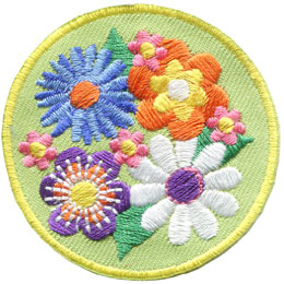 Flower, Flowers, Nature, Garden, Patch, Embroidered Patch, Merit Badge, Badge, Emblem, Iron On, Iron-On, Crest, Lapel Pin, Insignia, Girl Scouts, Boy Scouts, Girl Guides
