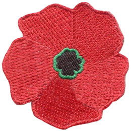Poppy, Remembrance Day, Veteran, Remember, Lest We Forget, Patch, Embroidered Patch, Merit Badge, Badge, Emblem, Iron On, Iron-On, Crest, Lapel Pin, Insignia, Girl Scouts, Boy Scouts, Girl Guides