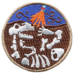 Paleontology, Dinosaur, Fossil, Archeology, Dust, Earth, Dirt, Patch, Embroidered Patch, Merit Badge, Badge, Emblem, Iron On, Iron-On, Crest, Lapel Pin, Insignia, Girl Scouts, Boy Scouts, Girl Guides