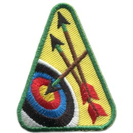 Archery, Arrow, Target, Hobby, Sport, Contest, Skill,  Patch, Embroidered Patch, Merit Badge, Badge, Emblem, Iron On, Iron-On, Crest, Lapel Pin, Insignia, Girl Scouts, Boy Scouts, Girl Guides