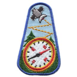 Geocaching, Compass, Tree, Satellite, Treasure, Hidden, Patch, Embroidered Patch, Merit Badge, Badge, Emblem, Iron On, Iron-On, Crest, Lapel Pin, Insignia, Girl Scouts, Boy Scouts, Girl Guides