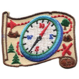Orienteering, Compass, Map, Tree, Rock, Scroll, Direction,Patch, Embroidered Patch, Merit Badge, Badge, Emblem, Iron On, Iron-On, Crest, Lapel Pin, Insignia, Girl Scouts, Boy Scouts, Girl Guides