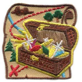 Treasure, Map, Pirate, Chest, Island, Jewel, Gem, Trail, Tree, Patch, Embroidered Patch, Merit Badge, Badge, Emblem, Iron On, Iron-On, Crest, Lapel Pin, Insignia, Girl Scouts, Boy Scouts, Girl Guides