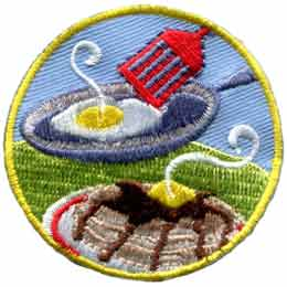 Breakfast, Egg, Pancakes, Plate, Flipper, Spatula, Patch, Embroidered Patch, Merit Badge, Badge, Emblem, Iron On, Iron-On, Crest, Lapel Pin, Insignia, Girl Scouts, Boy Scouts, Girl Guides