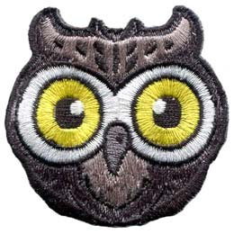 The face of an wise owl with large yellow eyes.