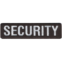 A black rectangle has the word SECURITY embroidered in white thread.