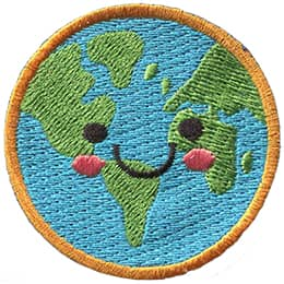 This cute Earth has dots for eyes and a big U shaped smile.