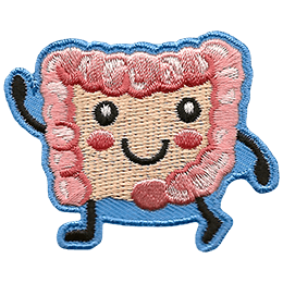 A happy human bowel smiles in a big U shape. Two black dots make its eyes, and pink blush colours its cheeks. The bowl thrusts one of its fists triumphantly in the air.