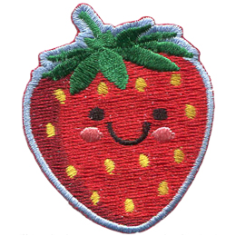 A delicious and ripe strawberry shows off a big U shaped smile. Two black dots make its eyes and pink blush colours the strawberry's cheeks.