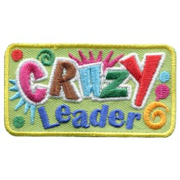 Crazy, Leader, Swirl, Dot, Insane, Colour, Embroidered Patch, Merit Badge, Badge, Emblem, Iron On, Iron-On, Crest, Lapel Pin, Insignia, Girl Scouts, Boy Scouts, Girl Guides