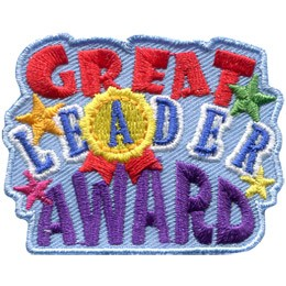 This patch is formed by the words 'Great Leader Award' stacked on top of each other. 'Great' is in red, 'Leader' in blue with the 'A' inside a gold medal, and 'Award' is embroidered in purple thread. Gold, green, pink, and yellow stars decorate this patch.