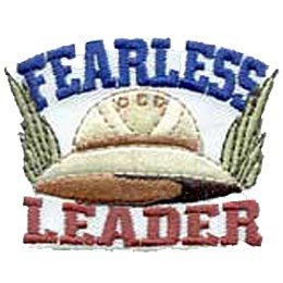 Fearless, Leader, Safari, Hat, Patch, Embroidered Patch, Merit Badge, Iron On, Iron-On, Crest, Girl Scouts, Boy Scouts, Girl Guides