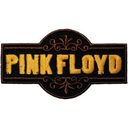 The name, \'Pink Floyd\', is embroidered in yellow thread inside a black rectangle.
