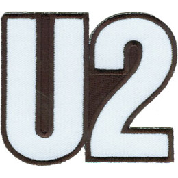 The patch is formed by the letter \'U\' followed by \'2\' to make the band name \'U2\'. The background is solid black.
