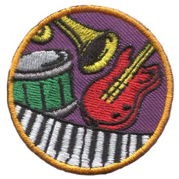 Music, Instrument, Guitar, Trumpet, Drum, Piano, Sound, Band, Patch, Embroidered Patch, Merit Badge, Badge, Emblem, Iron On, Iron-On, Crest, Lapel Pin, Insignia, Girl Scouts, Boy Scouts, Girl Guides