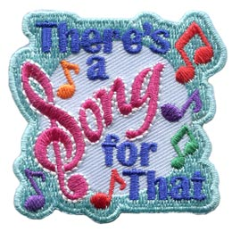 Song, Song For That, Music, Note, Sing, Patch, Embroidered Patch, Merit Badge, Badge, Emblem, Iron On, Iron-On, Crest, Lapel Pin, Insignia, Girl Scouts, Boy Scouts, Girl Guides