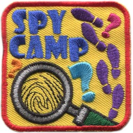Spy, Camp, Mystery, Footprints, Magnifying, Glass, Patch, Embroidered Patch, Merit Badge, Badge, Emblem, Iron On, Iron-On, Crest, Lapel Pin, Insignia, Girl Scouts, Boy Scouts, Girl Guides