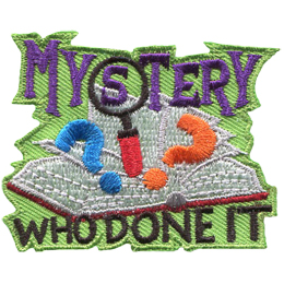 A book flutters open with two question marks and a magnifying glass popping out. The word Mystery sits above the book and Who Done It sits below.