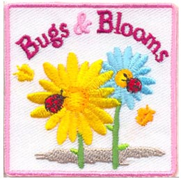 Bugs and Blooms, Flower, Lady Bug, Daisy, Butterfly, Patch, Embroidered Patch, Merit Badge, Crest, Girl Scouts, Boy Scouts, Girl Guides
