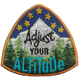 Stars sit above a mountain peak and forest. The text \'Adjust Your Altitude\' is embroidered in the center of the crest.