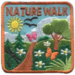 This square patch is filled with life. A dirt path winds through a forest dotted with white daisies as butterflies and birds fly overhead. A sun shines down from a partially cloudy sky. Above all this the words ''Nature Walk'' are embroidered in brown thread.