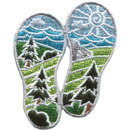 Two boot prints have images of nature within them. From the top down are: the sun, clouds, waves, mountains, hills, forest, field, and bushes.