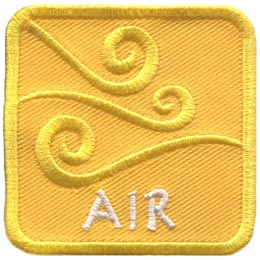 This yellow patch is decorated with swirling wind currents. The word ''Air'' is embroidered in white text near the base of the patch.