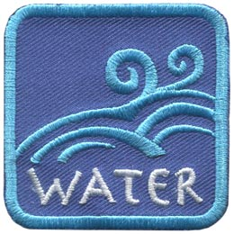 This blue patch is decorated with flowing waves of water. The word ''Water'' is embroidered in white text near the base of the patch.
