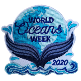 A globe of the world rests on a fish tail and below the tail are choppy waves. The text World Oceans Week is on the globe and 2020 is beside the tail.
