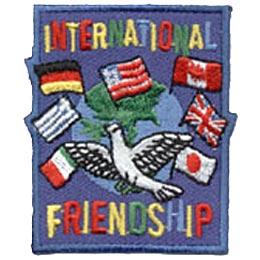 Friends, Flag, Dove, World, Thinking Day, Patch, Embroidered Patch, Merit Badge, Crest, Girl Scouts, Boy Scouts, Girl Guides