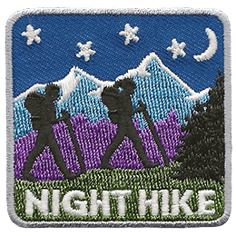 Two hikers walk on a grassy hill with mountains, stars, and a crescent moon in the background.