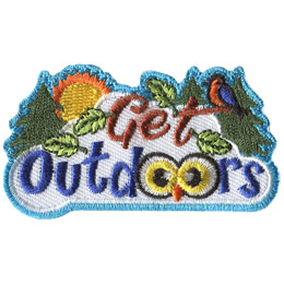 This crest displays a wide variety of nature around the words 'Get Outdoors'. The words themselves look like they are set on a fluffy white cloud. To the left sits a spruce tree and a shining sun. To the right are two more spruce trees peeking out from behind the cloud. The word 'Get' looks like it is made out of branches, with two leaves sticking off the 't' and a bird resting on it.