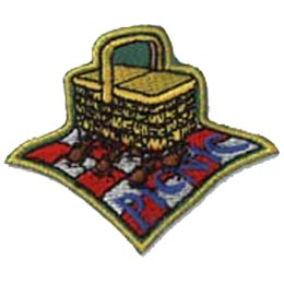Picnic, Basket, Blanket, Patch, Embroidered Patch, Merit Badge, Crest, Girl Scouts, Boy Scouts, Girl Guides