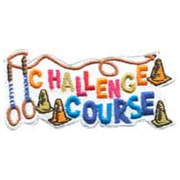 The words ''Challenge Course'' are accompanied by pylons, rings, and rope.