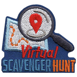 A magnifying glass hovers over a map. The words Virtual Scavenger Hunt sit beneath it.