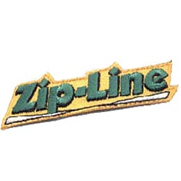 This yellow background patch has the words ''Zip-Line'' thickly embroidered in green thread.