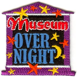 Museum, Overnight, Star, Moon, Patch, Embroidered Patch, Merit Badge, Crest, Girl Scouts, Boy Scouts, Girl Guides