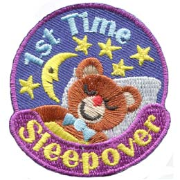 Sleep, Sleepover, Bear, Bed, Teddy, Star, Moon, Night, Patch, Embroidered Patch, Merit Badge, Badge, Emblem, Iron On, Iron-On, Crest, Lapel Pin, Insignia, Girl Scouts, Boy Scouts, Girl Guides
