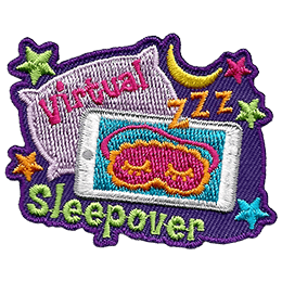 A tablet displays a sleeping mask with zzz coming out of it. In the background is a comfy pillow, a crescent moon, and multi-coloured stars. The text Virtual is embroidered on the pillow and Sleepover rests under the tablet.