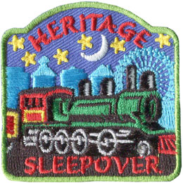 Heritage, Sleepover, Pioneer, Train, Paddle, Fort, Patch, Embroidered Patch, Merit Badge, Badge, Emblem, Iron On, Iron-On, Crest, Lapel Pin, Insignia, Girl Scouts, Boy Scouts, Girl Guides