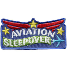 Aviation, Airport, Air, Wings, Plane, Jet, Star, Sleepover, Patch, Embroidered Patch, Merit Badge, Badge, Emblem, Iron On, Iron-On, Crest, Lapel Pin, Insignia, Girl Scouts, Boy Scouts, Girl Guides