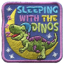Sleep, Dino, Dinosaur, Moon, Star, Sleepover, Camp, Embroidered Patch, Merit Badge, Badge, Emblem, Iron On, Iron-On, Crest, Lapel Pin, Insignia, Girl Scouts, Boy Scouts, Girl Guides