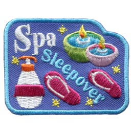 Spa, Sleep, Over, Sleepover, Candles, Lotion, Slippers, Patch, Embroidered Patch, Merit Badge, Badge, Emblem, Iron On, Iron-On, Crest, Lapel Pin, Insignia, Girl Scouts, Boy Scouts, Girl Guides