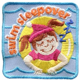Swim, Sleepover, Night, Party, Pool, Tube, Water, Patch, Embroidered Patch, Merit Badge, Badge, Emblem, Iron On, Iron-On, Crest, Lapel Pin, Insignia, Girl Scouts, Boy Scouts, Girl Guides