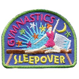 Gymnastics, Sleepover, Overnight, Moon, Stars, Patch, Embroidered Patch, Merit Badge, Badge, Emblem, Iron On, Iron-On, Crest, Lapel Pin, Insignia, Girl Scouts, Boy Scouts, Girl Guides