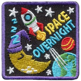 This 2'' square patch depicts a space shuttle launching out of Earth's atmosphere and into the stars. Earth is in the bottom right hand corner of the patch, a sleeping crescent moon with a night cap on is in the bottom left, and the rocket (along with the words ''Space Overnight'' are shown in the crest's center and top. Stars are scattered all over the badge.