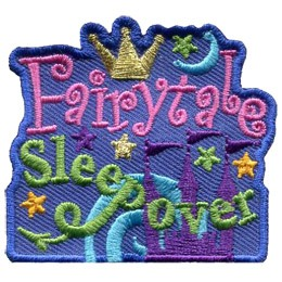 A purple fairytale castle sits in the background with it's three flags flying high while a crescent moon floats overhead. The words 'Fairytale Sleepover' dominate the patch with a crown resting over 'Fairytale', which is embroidered in pink, and a dragon tail forming from the descending line in 'p' in 'Sleepover', which is embroidered in green.